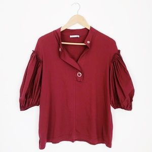 Zara Red Cotton Balloon Sleeve Top